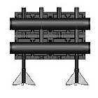 Распределительная гребенка Meibes  из черной стали на 2 контура, тип V152, Victa